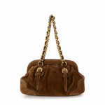 Prada Chain Shoulder Bag Brown Suede Shoulder Bag LXRCO 5